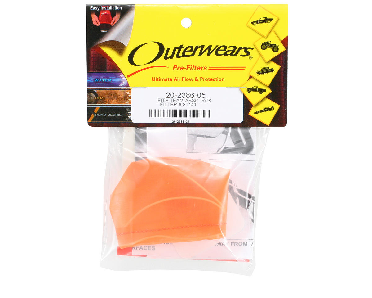 Outerwears Performance Pre-Filter Air Filter Cover (Associated RC8) (Orange)