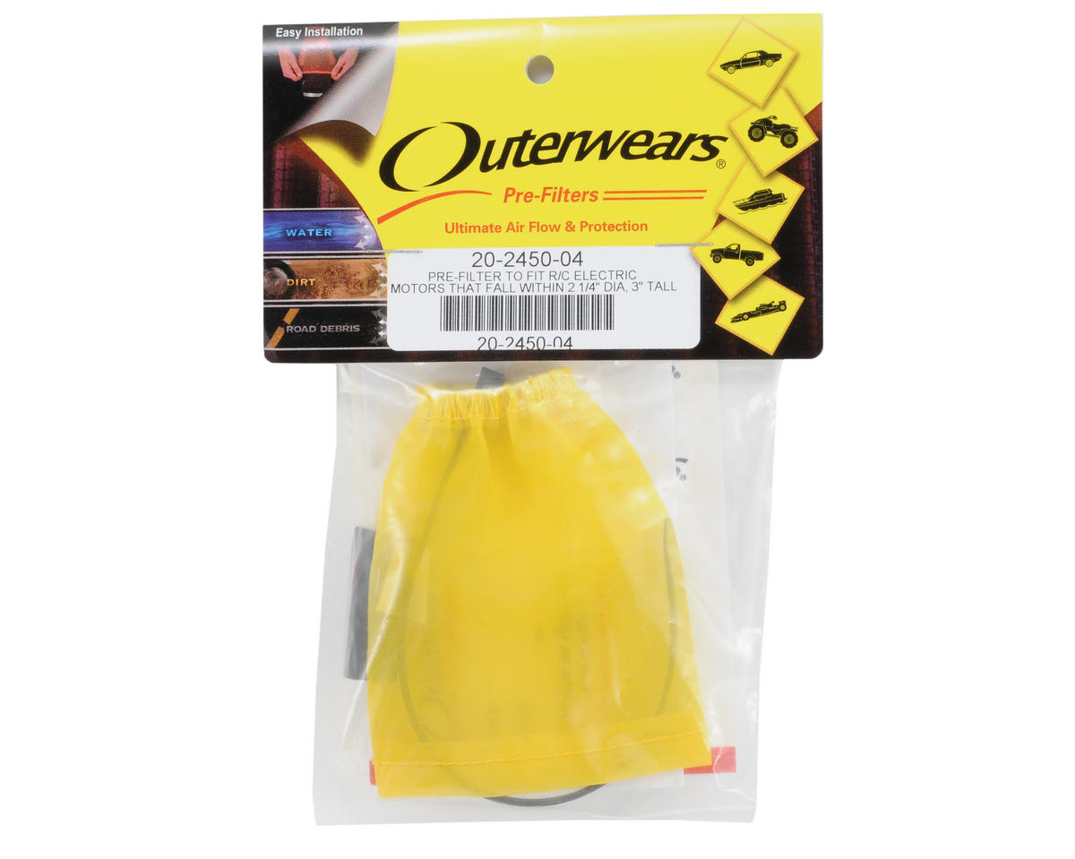 Outerwears Performance Electric Motor Pre-Filter (1 1/8 x 2 3/4 to 1 1/4 Tall) (Yellow)