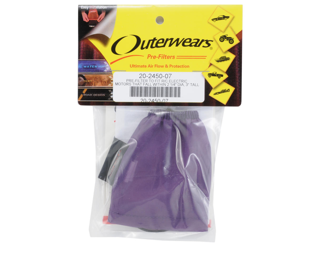 Outerwears Performance Electric Motor Pre-Filter (1 1/8 x 2 3/4 to 1 1/4 Tall) (Purple)