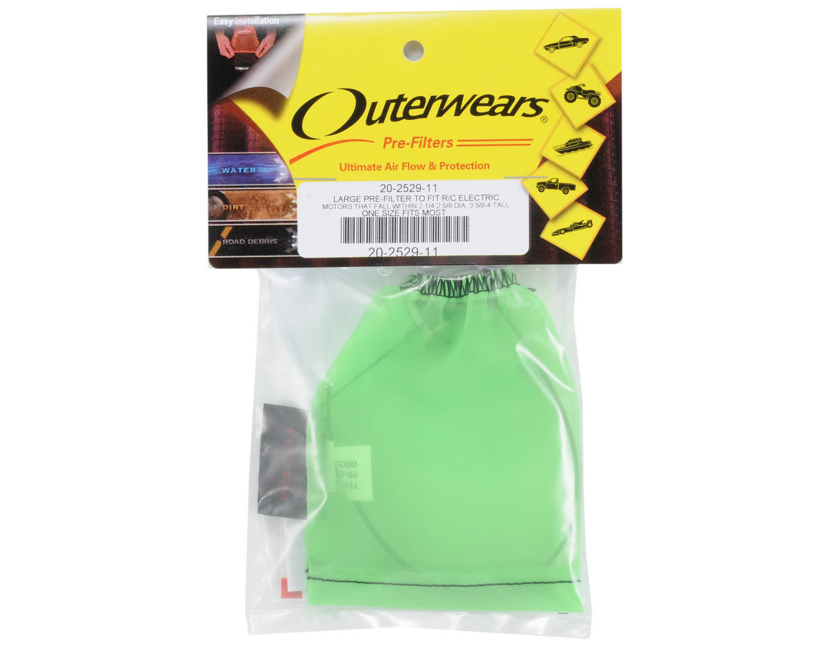 Outerwears Performance Electric Motor Pre-Filter (2 3/4 - 2 5/8 Dia. x 3 5/8 - 4 Tall) (Green)