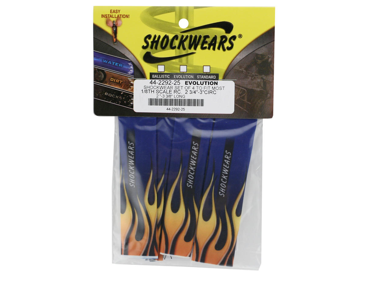 Outerwears Shockwares Flame Evolution Shock Covers (Losi, OFNA, Mugen, Kyosho) (Blue) (4)