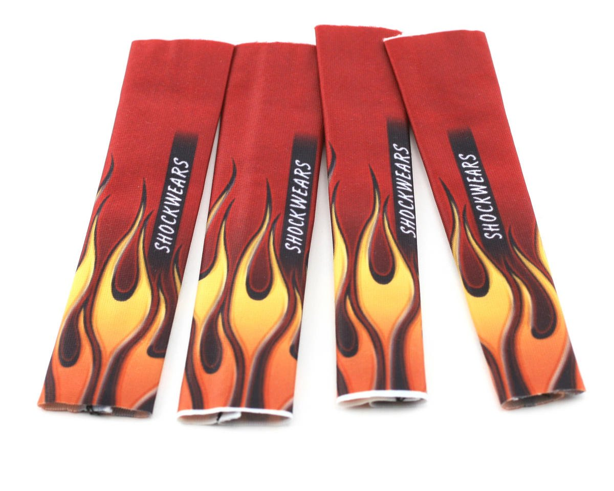Outerwears Shockwares Flame Evolution Shock Covers (Losi, OFNA, Mugen, Kyosho) (Red) (4)