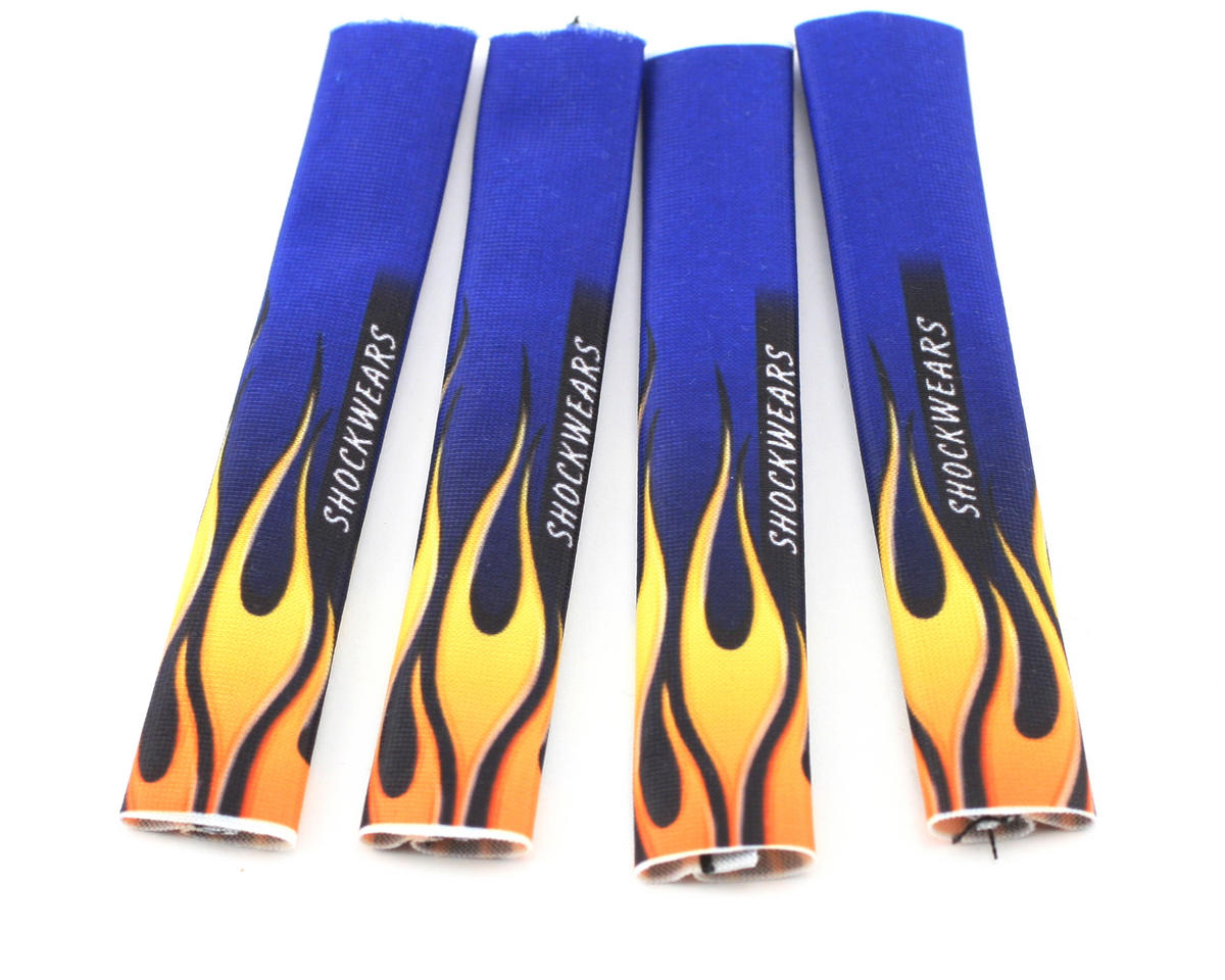 Outerwears Shockwares Flame Evolution Shock Covers (Associated, Traxxas, Losi) (Blue) (4)