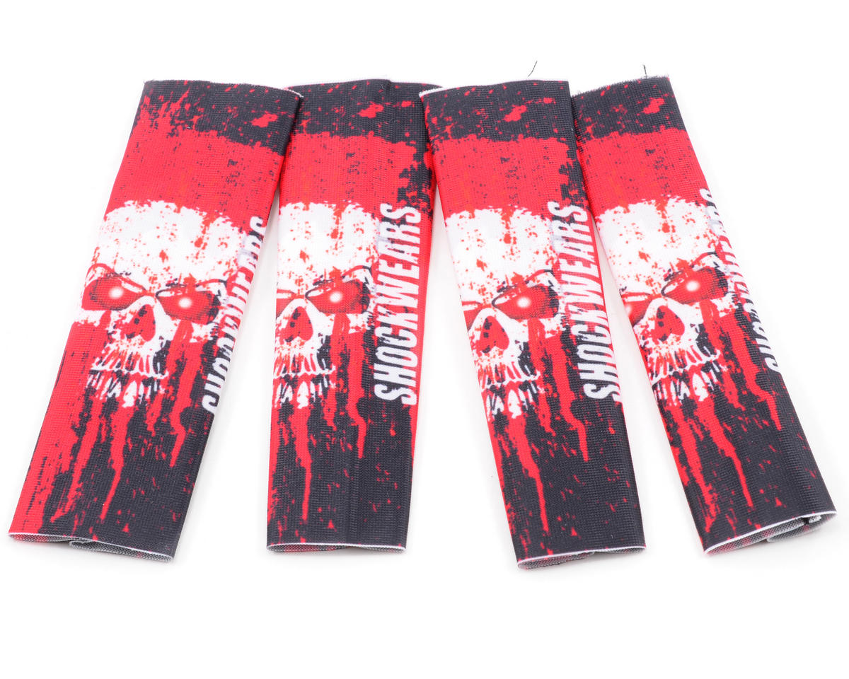 Outerwears Shockwares Skull Evolution Big Bore Shock Covers (4) (Red) (OFNA Jammin X1-CRT)