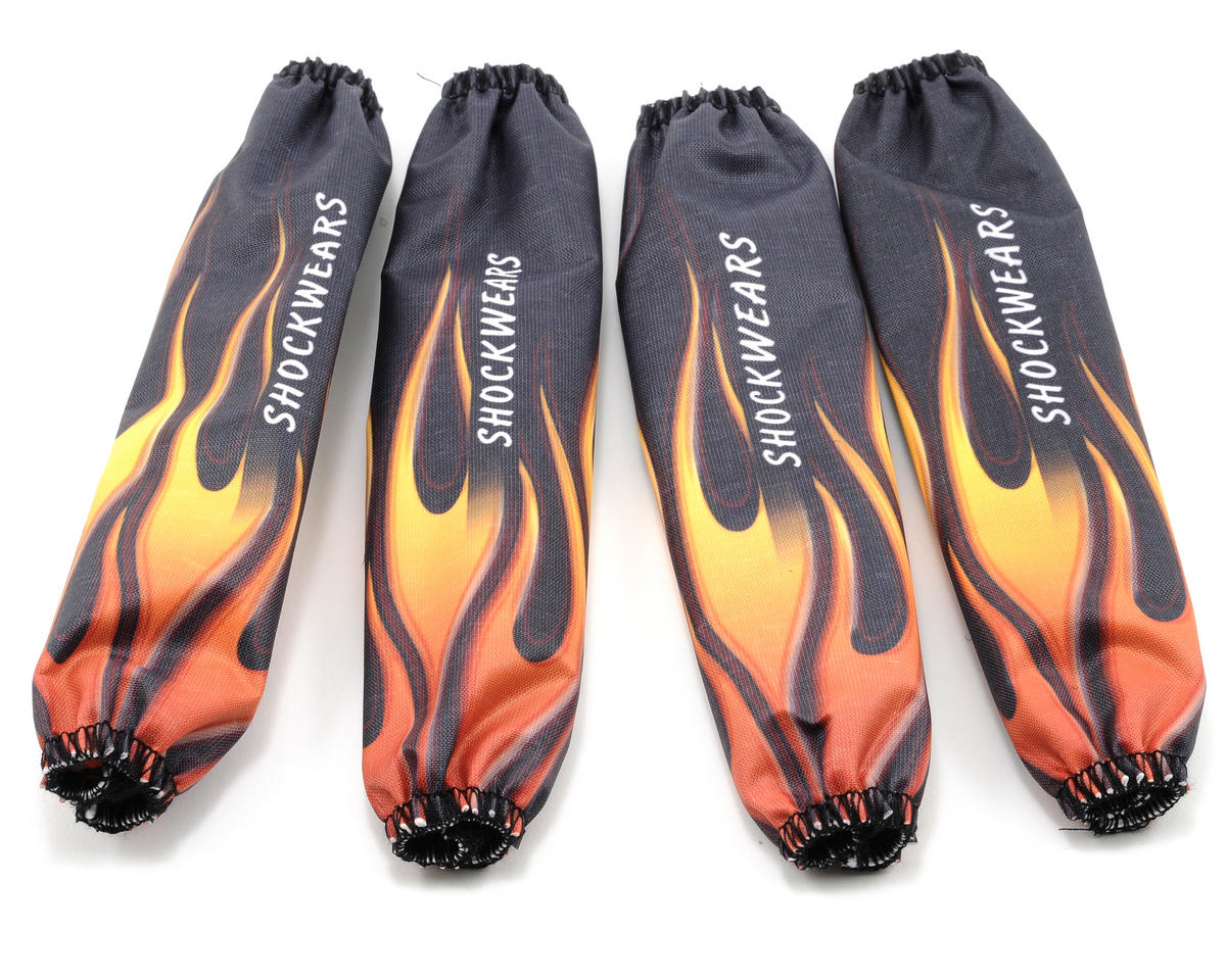 Outerwears Shockwears Flame Evolution Shock Covers (5B & 5T) (4) (Black) (HPI Racing Baja