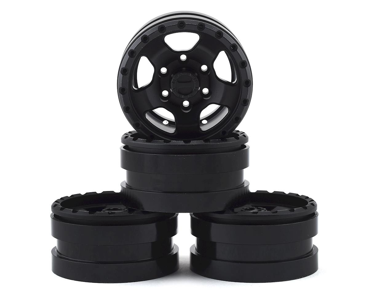 Pit Bull Tires Raceline Combat 1.55 Aluminum Beadlock Crawler Wheels (Black) (4)
