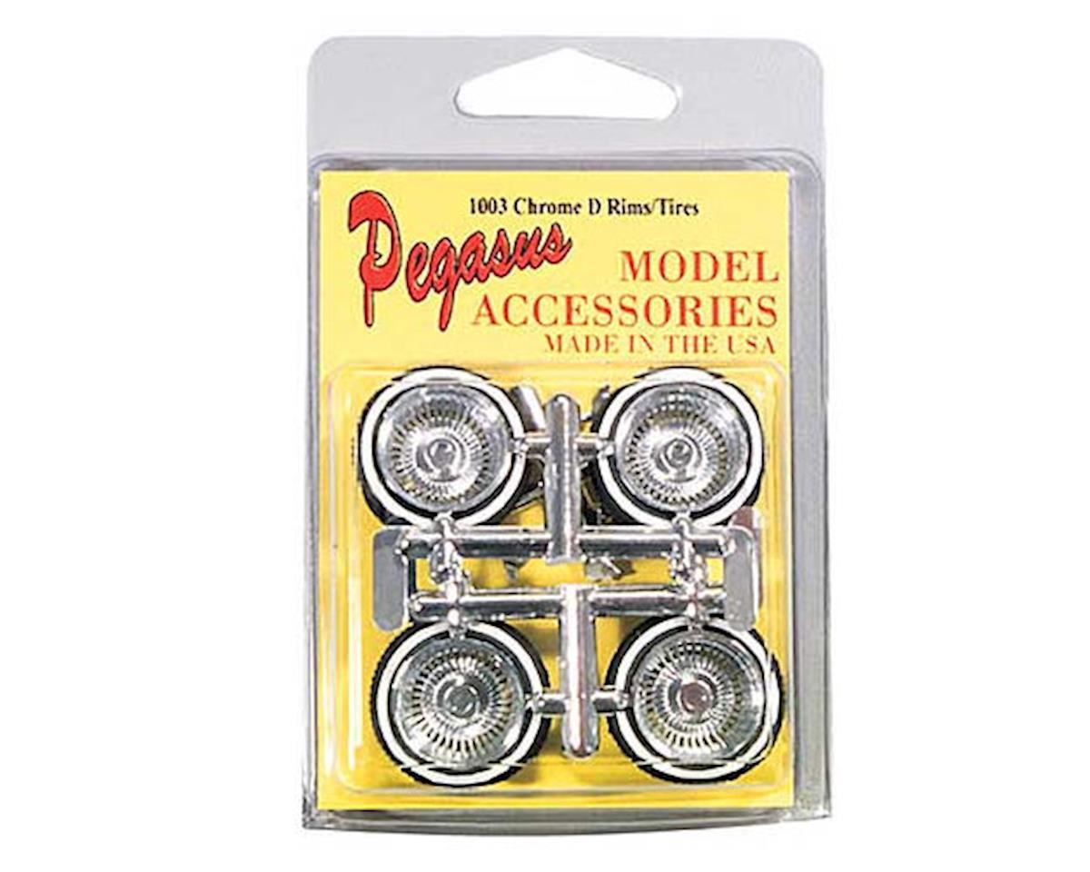 Pegasus Hobbies  1/24-1/25 Chrome Rims & Dunlop Rubber Tires 4Pc