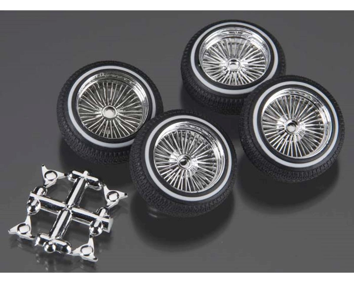 1/24-1/25 Dz's Chrome Rims W/Whitewall Tires 4Pc by Pegasus Hobbies