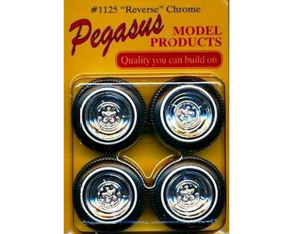 Pegasus Hobbies  1/24-1/25 Reverse Chrome Rims W/Tires 4Pc
