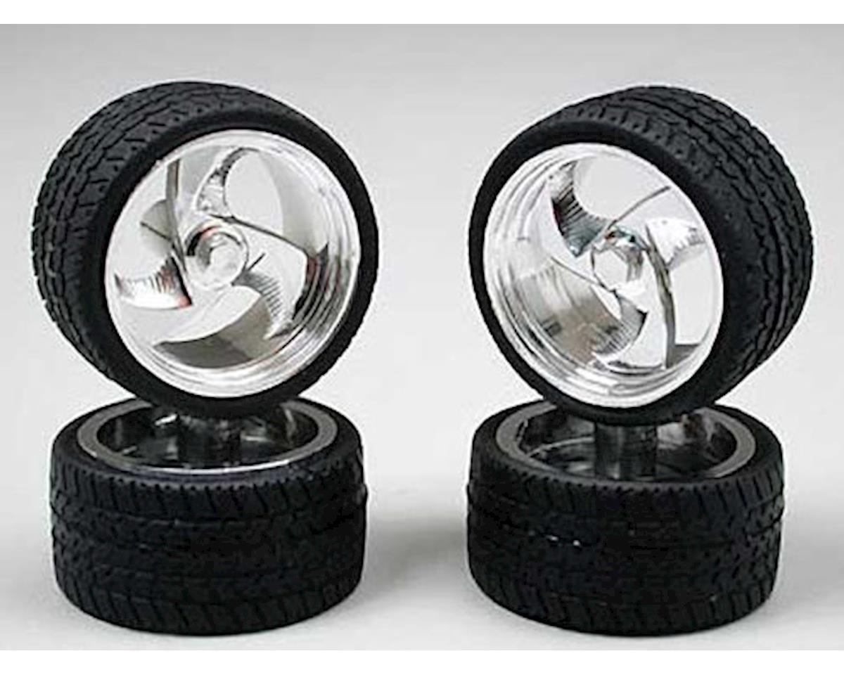 Pegasus Hobbies 1202 Tri-Blade Chrome Rims w/Tires (4)