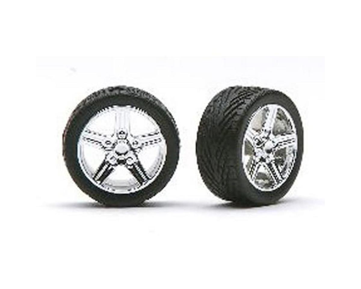 1266 1/24 Irok's Rims w/Tires Chrome by Pegasus Hobbies