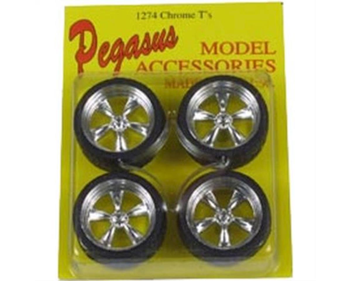 Pegasus Hobbies  1/24-1/25 T's Chrome Rims W/Tires