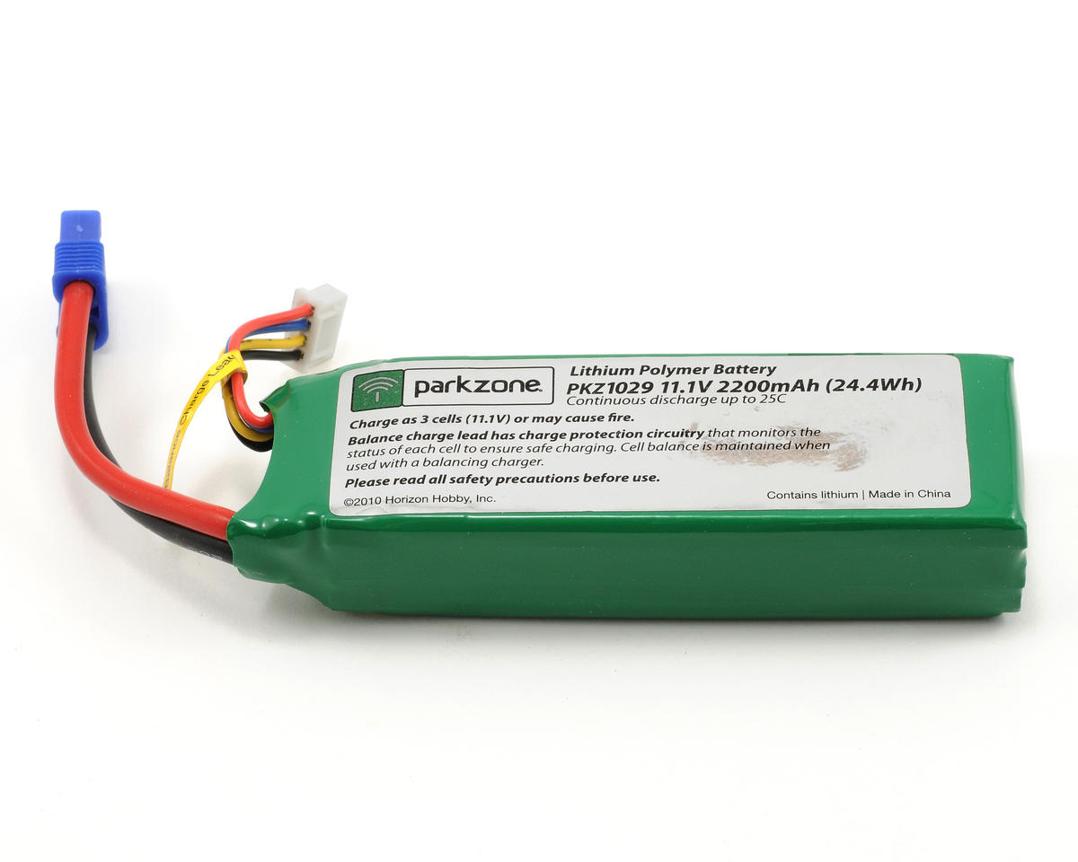 ParkZone 11.1V 2200mAh 3S 25C Li-Po Battery w/EC3 Connector