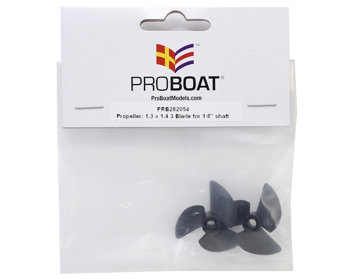 "Pro Boat 1.3x1.4 3-Blade Propeller (2) (for 1/8"" shaft)"