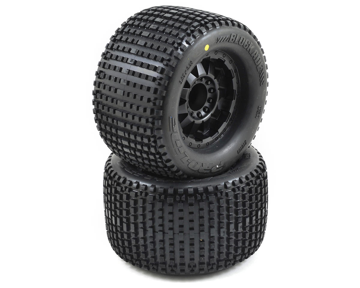 "Blockade 3.8"" Tire w/F-11 17mm 1/2"" Offset MT Wheels (2) (Black) (M2) by Pro-Line"
