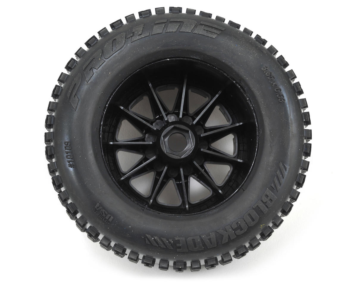 "Pro-Line Blockade 3.8"" Tire w/F-11 17mm 1/2"" Offset MT Wheels (2) (Black) (M2)"