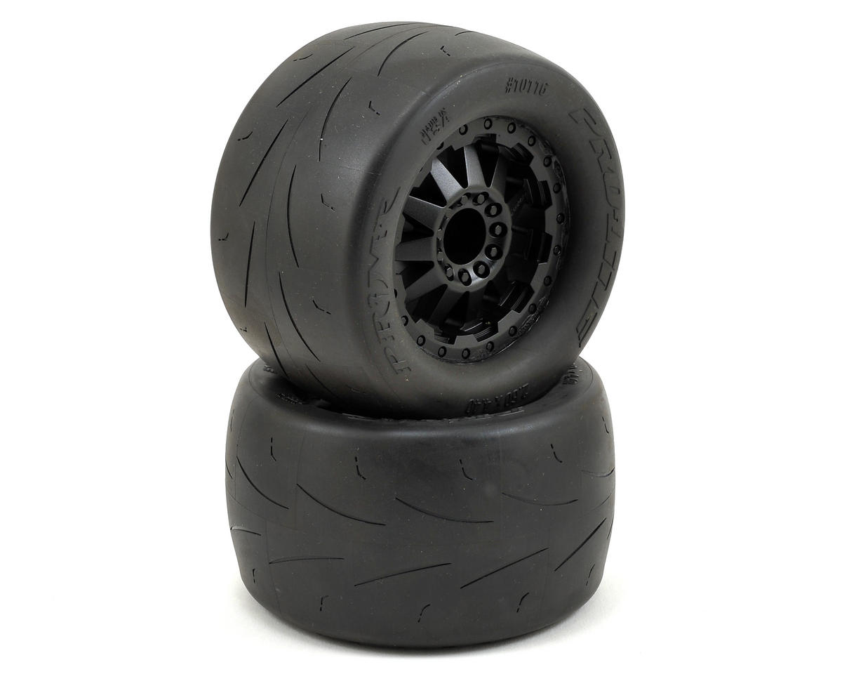 "Prime 2.8"" Pre-Mounted Tires w/F-11 Nitro Rear Wheels (2) (Black) by Pro-Line"