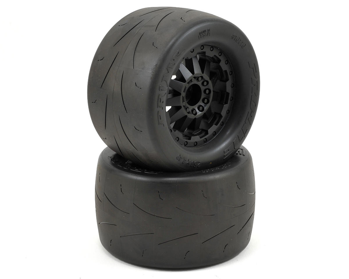 "Pro-Line Prime 2.8"" Pre-Mounted w/F-11 Electric Rear Wheels (2) (Black) (Traxxas Rustler)"