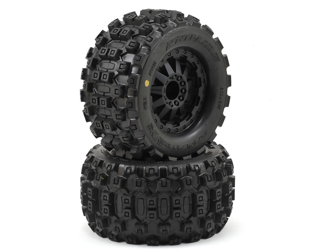 "Pro-Line Badlands MX28 2.8"" Tires w/F-11 Nitro Rear Wheels (2) (Black) (Traxxas Rustler)"