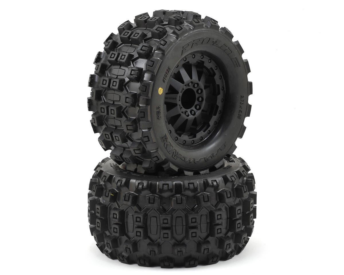 "Badlands MX28 2.8"" Tires w/F-11 Nitro Rear Wheels (2) (Black) (M2) by Pro-Line"