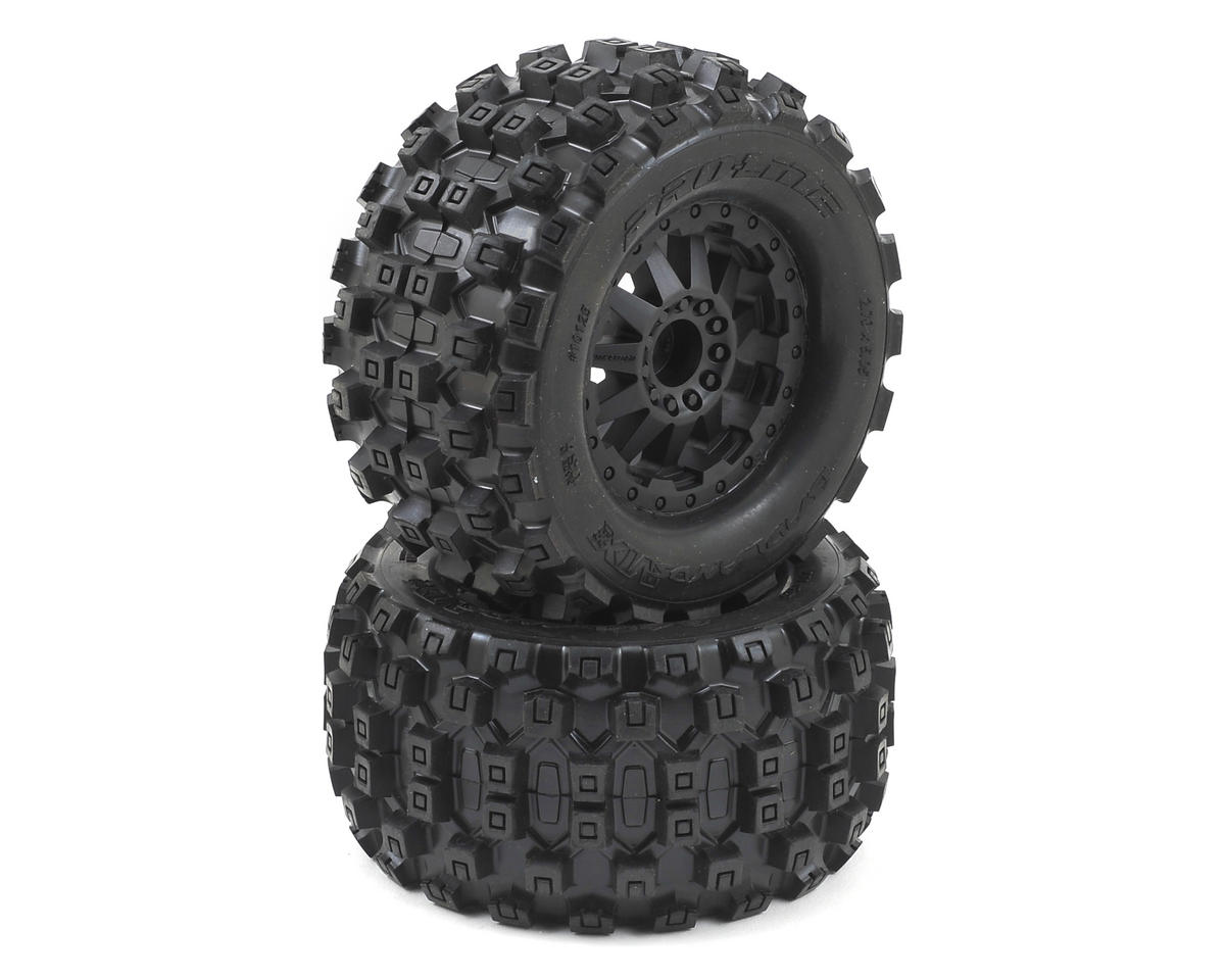 "Pro-Line Badlands MX28 2.8"" Tires w/F-11 Electric Rear Wheels (2) (Black) (Traxxas Rustler)"