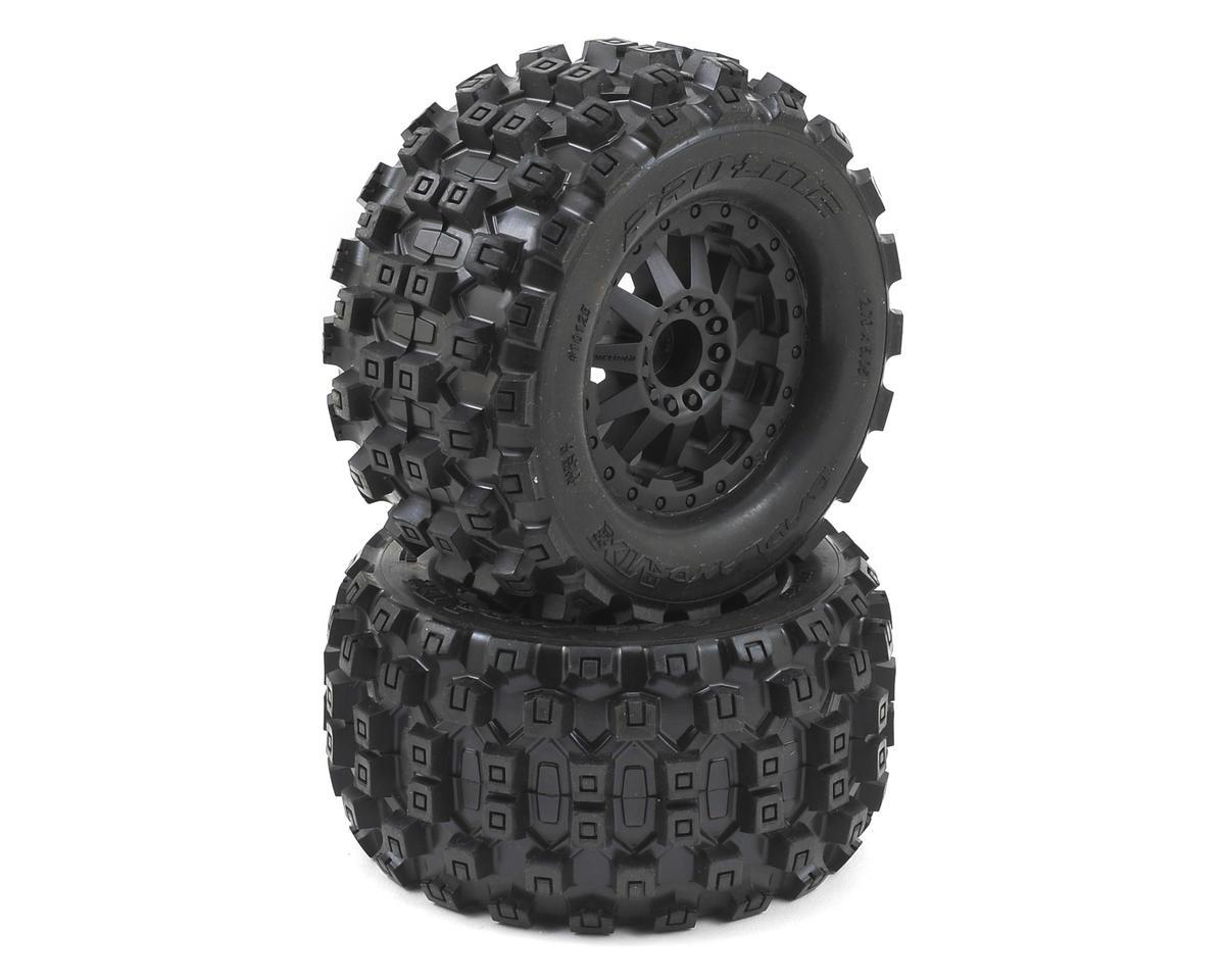"Badlands MX28 2.8"" Tires w/F-11 Electric Rear Wheels (2) (Black) (M2) by Pro-Line"