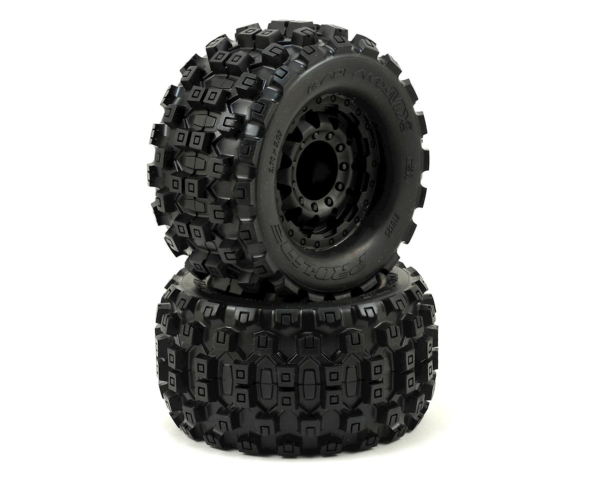 "Badlands MX28 2.8"" Tires w/F-11 Nitro Rear Wheels (2) (Black) by Pro-Line"