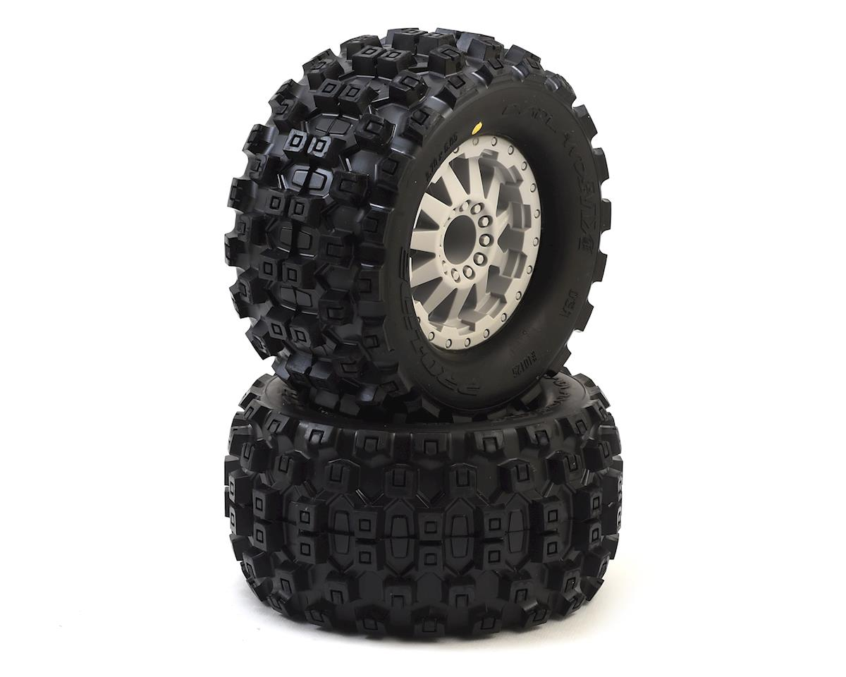 "Pro-Line Badlands MX28 2.8"" Tires w/F-11 Nitro Rear Wheels (2) (Grey) (Traxxas Stampede)"