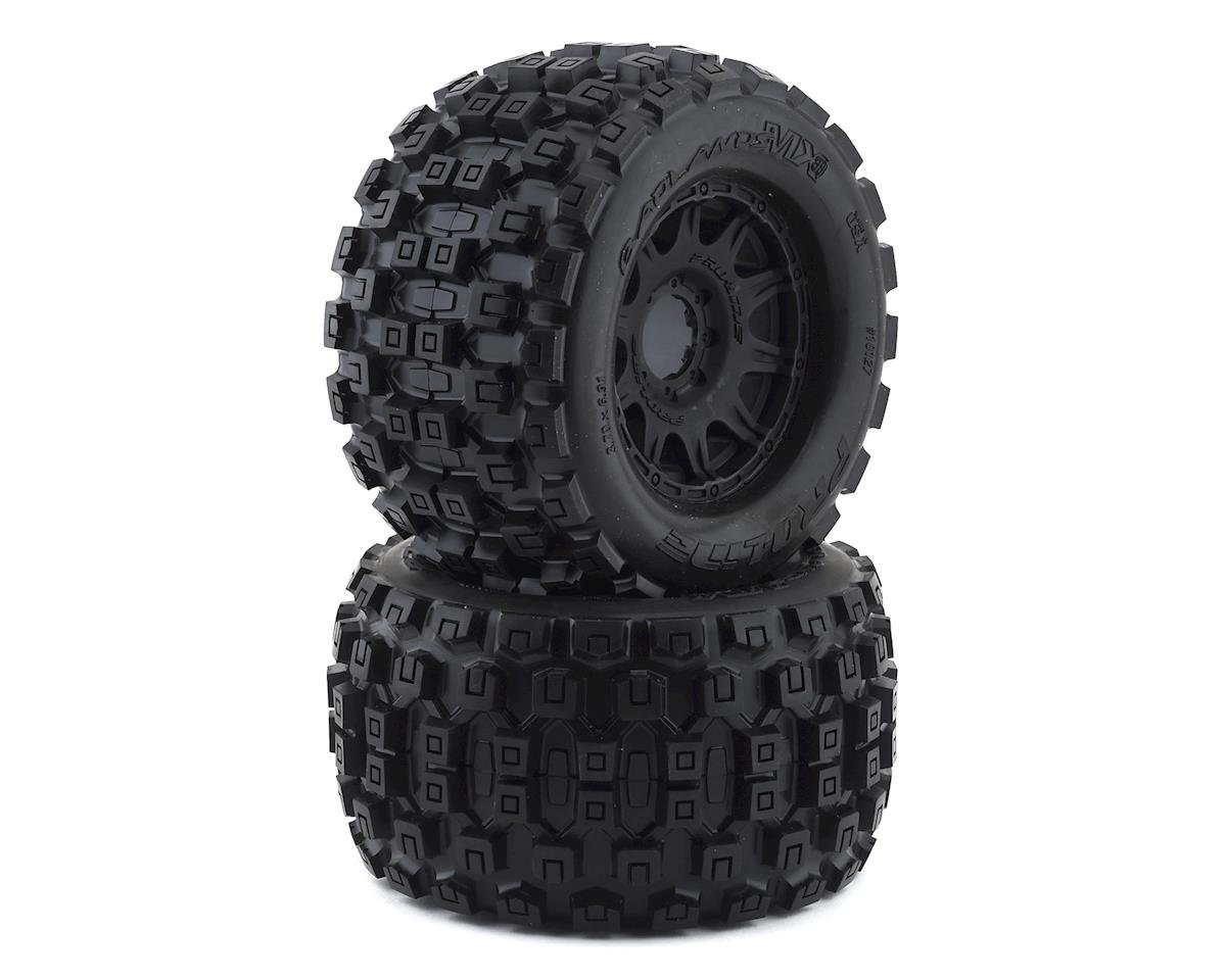 "Pro-Line Badlands MX38 3.8"" Tire w/Raid 8x32 Wheels (Black) (2) (Arrma Kraton 6S BLX)"