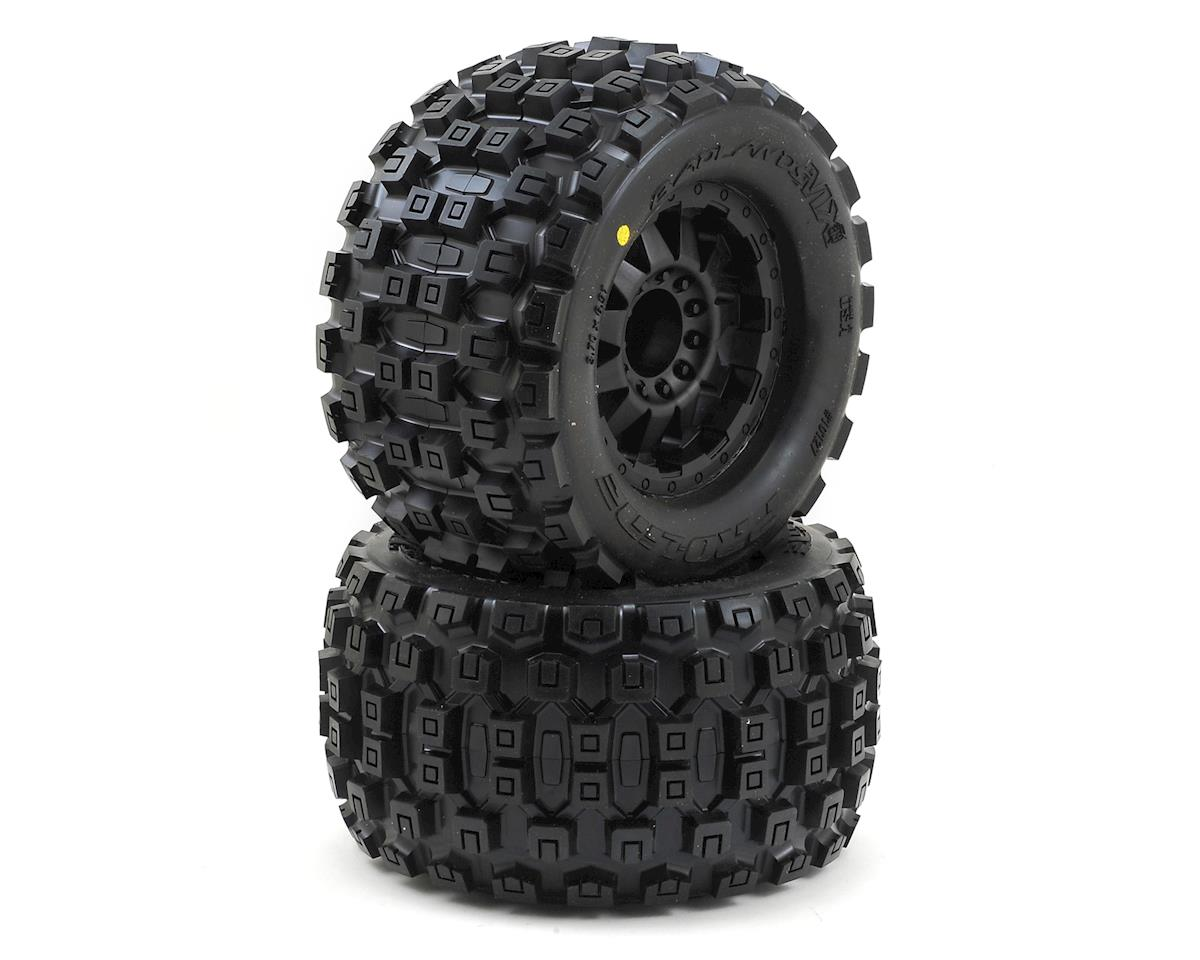 "Badlands 3.8"" Tire w/F-11 17mm 1/2"" Offset MT Wheel (2) (Black) by Pro-Line (HPI Racing Savage Flux HP)"