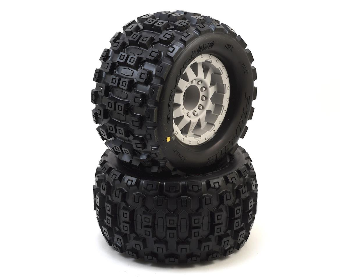 "Pro-Line Badlands 3.8"" Tire w/F-11 17mm 1/2"" Offset MT Wheel (2) (Grey) (Arrma Kraton 6S BLX)"