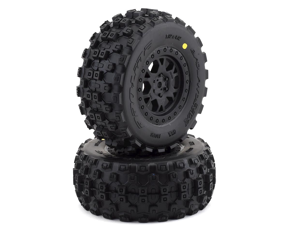 Pro-Line Badlands MX Short Course Tire w/ProTrac Renegade Wheels (Black) (2) (Team Associated SC10)