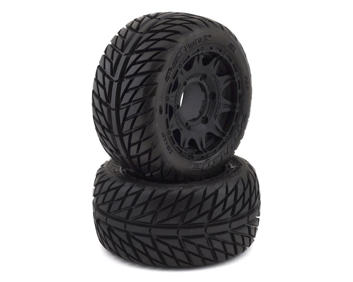"Pro-Line Street Fighter LP 2.8"" Tires w/Raid Rear Wheels (2) (Black) (Traxxas Jato)"
