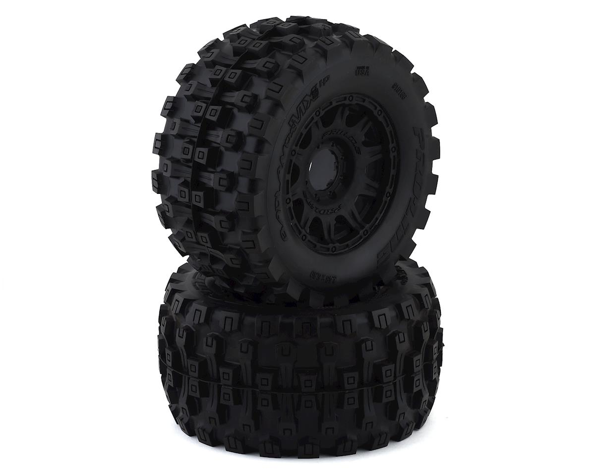 "Pro-Line Badlands MX38 HP Belted 3.8"" Pre-Mounted Truck Tires (2) (Black) (Traxxas Revo)"