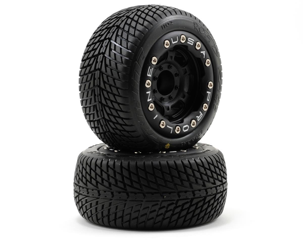 Pro-Line Pre-Mounted Road Rage Titus Bead-Loc Wheels (2) (1/16 E-Revo) (Black)