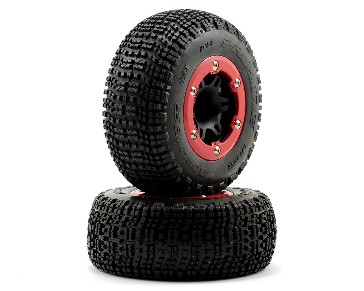 pro line bow tie sc 2 2 3 0 m3 tires w split six bead loc wheels red black 2 pro1153 22. Black Bedroom Furniture Sets. Home Design Ideas