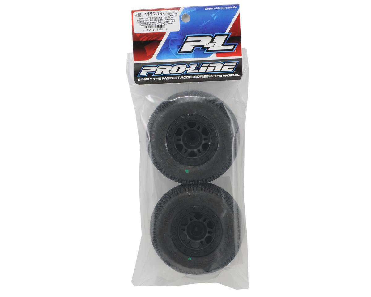pro line caliber sc 2 2 3 0 m3 tires w split six one piece wheels black 2 s pro1156 16. Black Bedroom Furniture Sets. Home Design Ideas