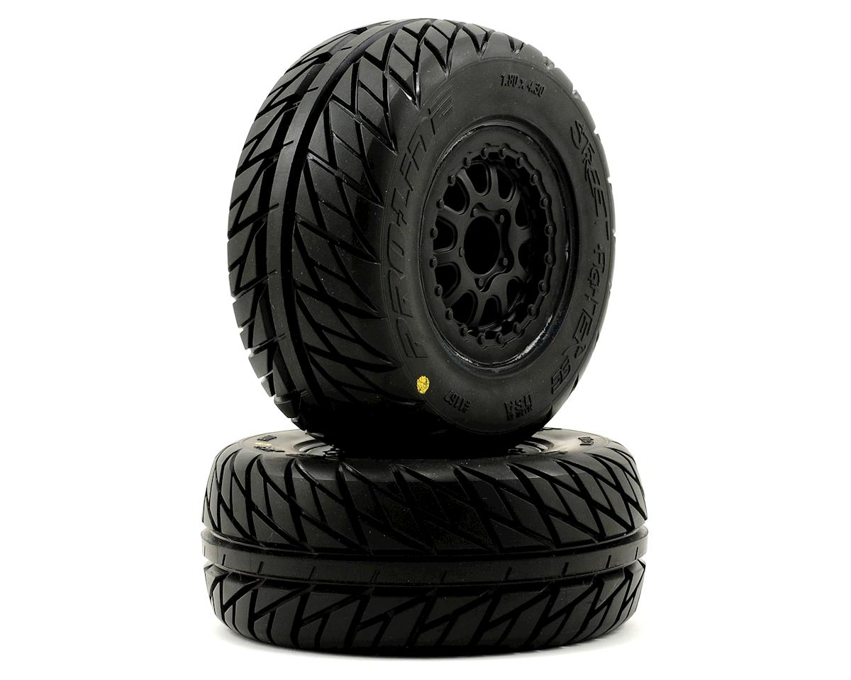 Pro-Line Street Fighter SC Tires w/Renegade Wheels (2) (Slash Rear) (Bl (Traxxas Slash 4x4)