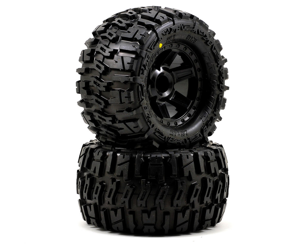 "Pro-Line Trencher 2.8"" Tires w/Desperado Nitro Rear Wheels (2) (Black) (Traxxas Jato)"
