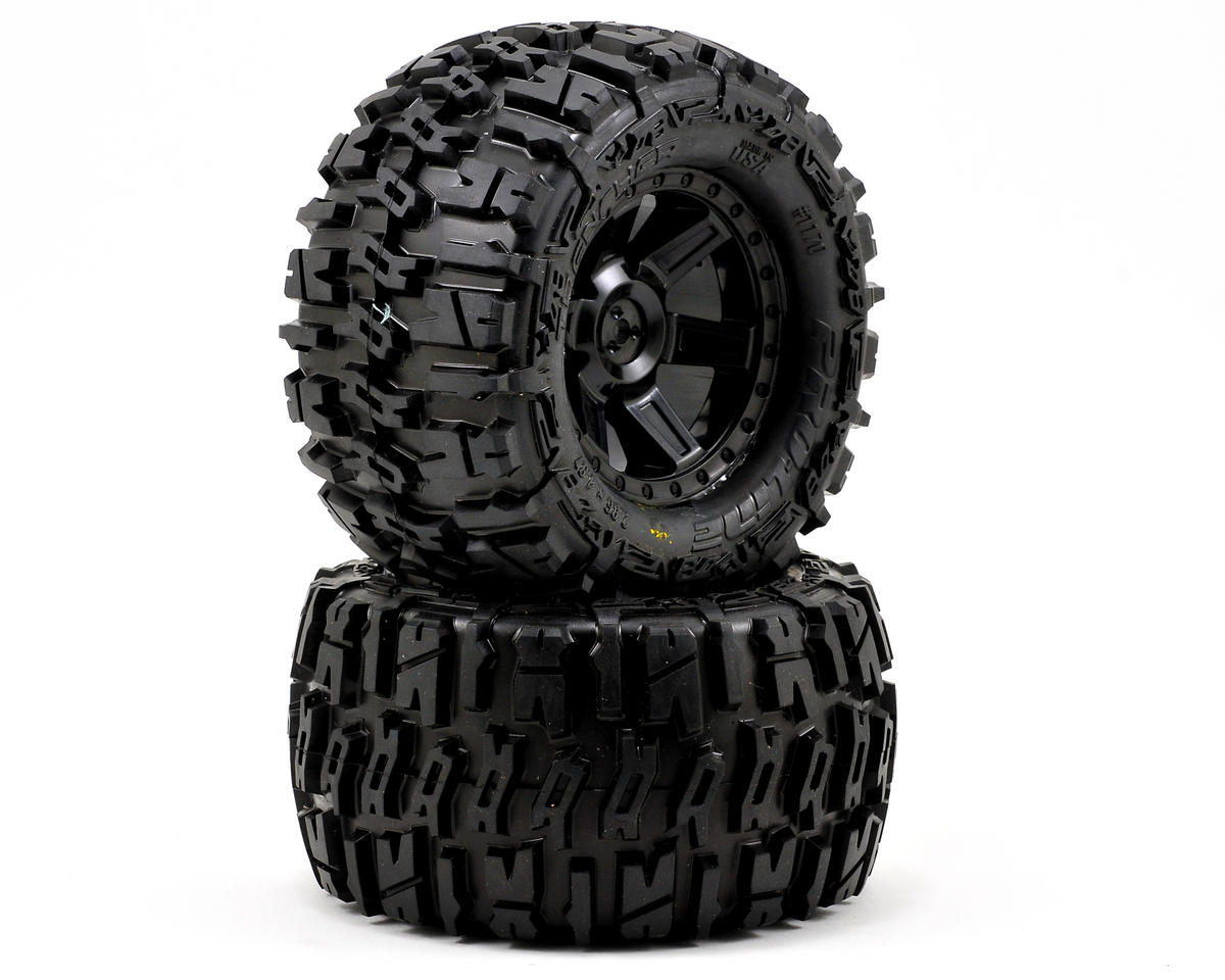 "Pro-Line Trencher 2.8"" Tires w/Desperado Electric Rear Wheels (2) (Black) (Traxxas Rustler)"