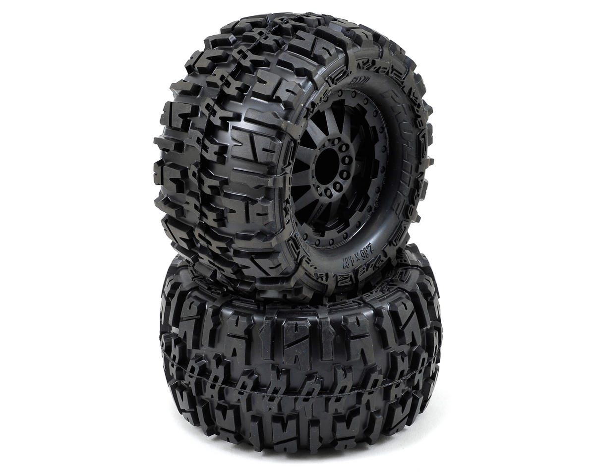 "Pro-Line Trencher 2.8"" Tires w/F-11 Electric Rear Wheels (2) (Black) (Traxxas Rustler)"