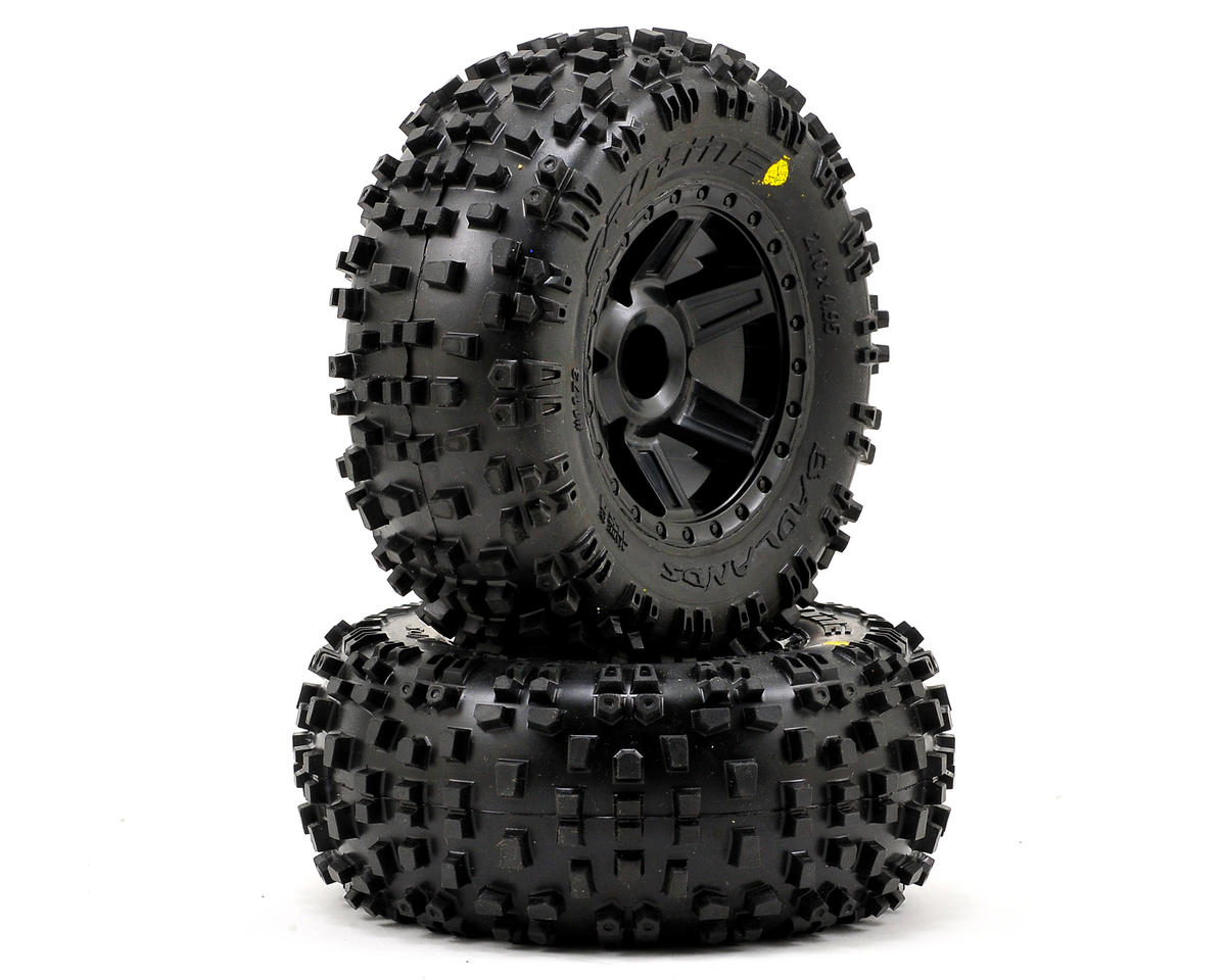 "Pro-Line Badlands 2.8"" Tires w/Desperado Nitro Rear Wheels (2) (Black) (Traxxas Rustler)"
