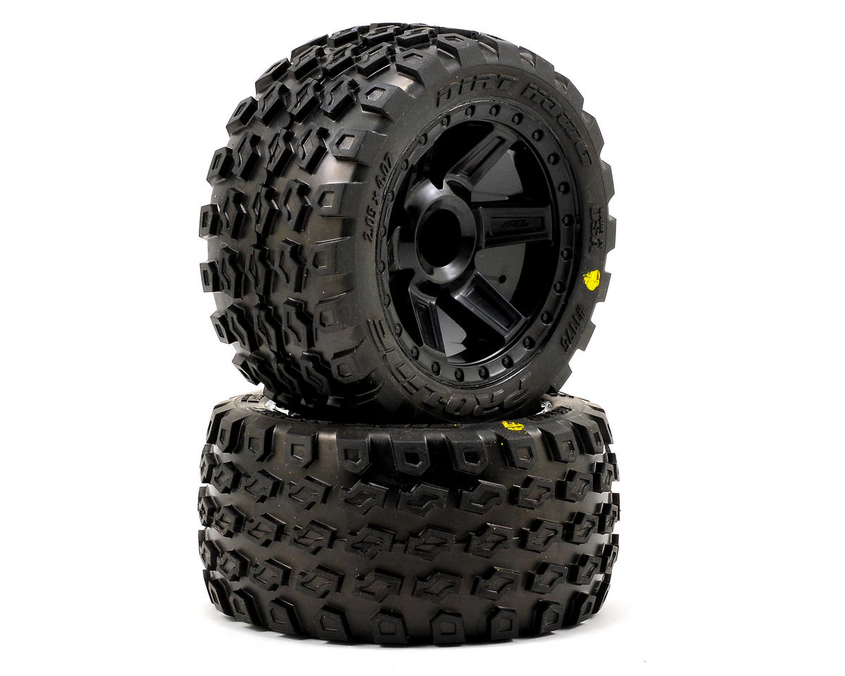 "Pro-Line Dirt Hawg 2.8"" Tires w/Desperado Nitro Rear Wheels (2) (Black) (Traxxas Rustler)"