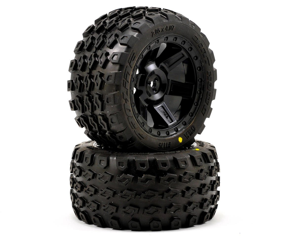 "Pro-Line Dirt Hawg 2.8"" Tires w/Desperado Electric Rear Wheels (2) (Black)"