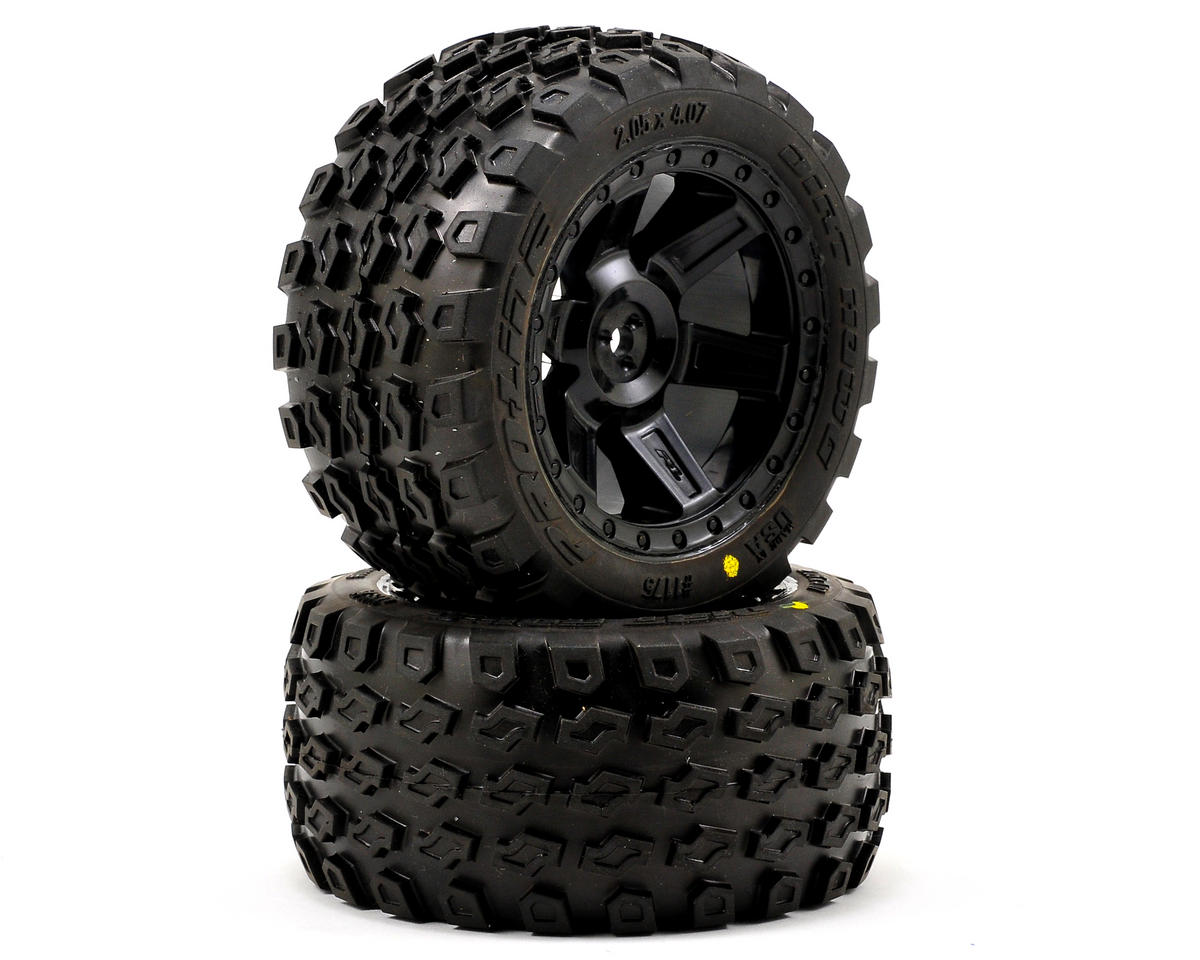 "Dirt Hawg 2.8"" Tires w/Desperado Electric Rear Wheels (2) (Black) by Pro-Line"