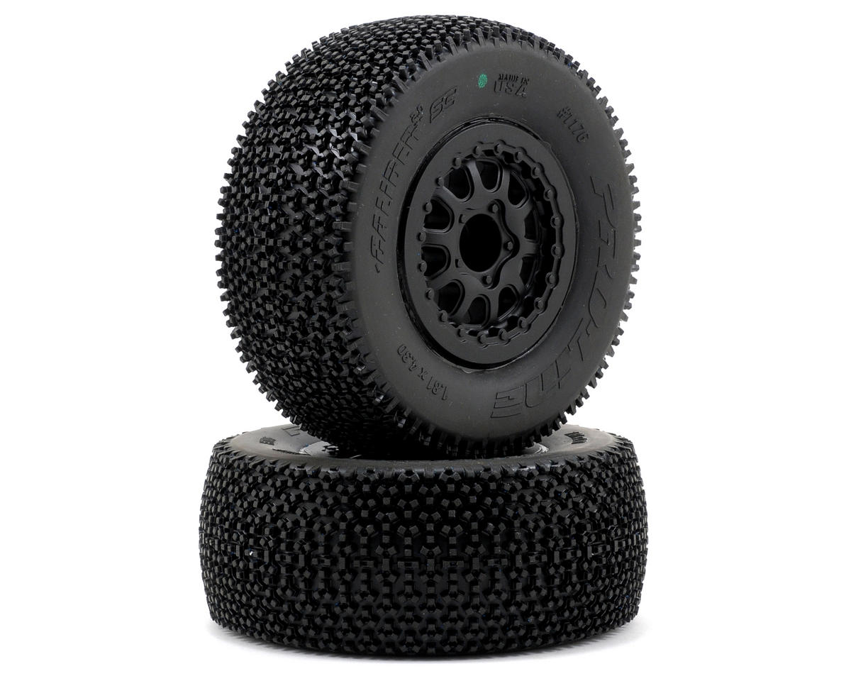 Caliber 2.0 SC Tires w/Renegade Wheels (2) (Slash Rear) (Black) (M3) by Pro-Line