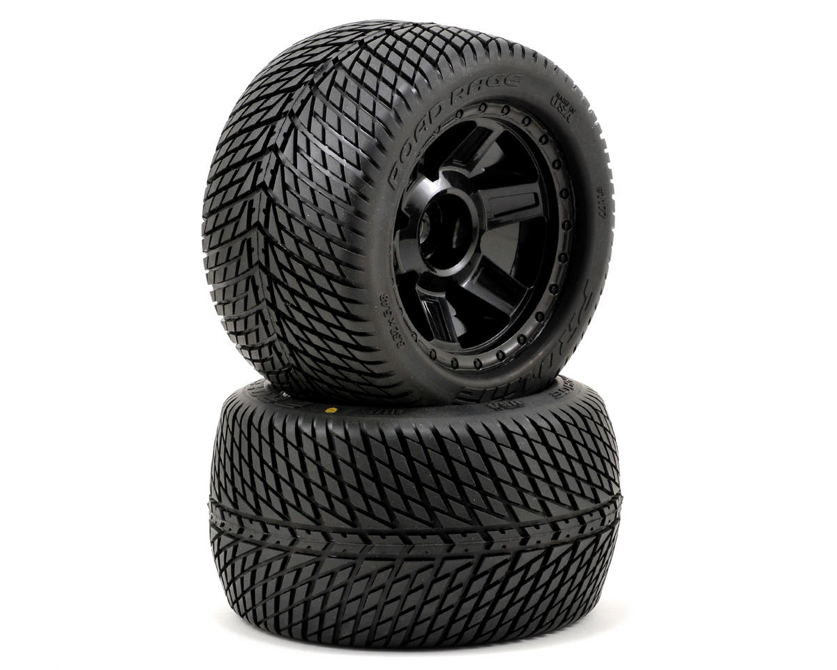 "Pro-Line Road Rage 3.8"" Tire 1/2"" Offset Wheel (2) (Black) (Tekno RC MT410)"