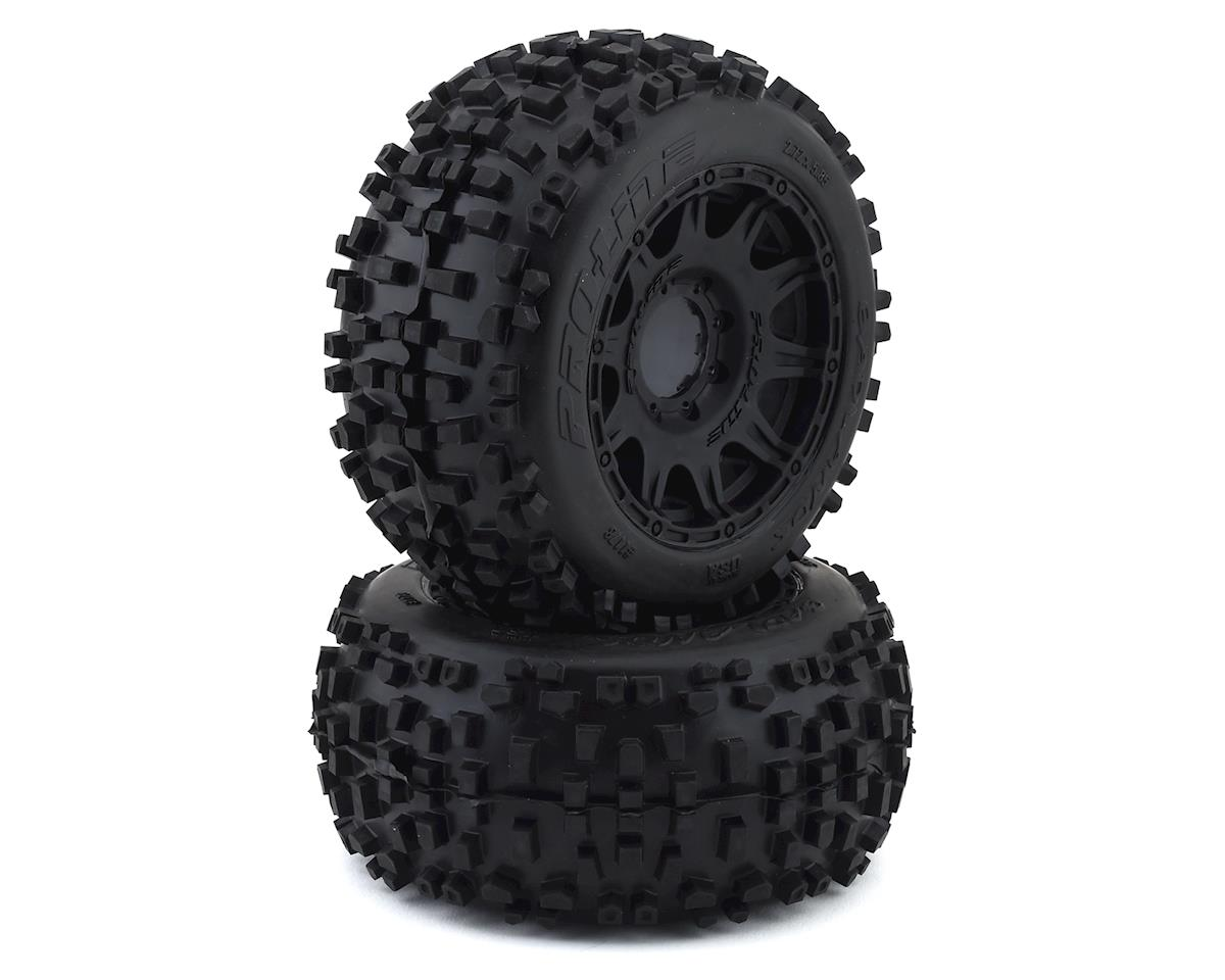 "Pro-Line Badlands 3.8"" Pre-Mounted Truck Tires (2) (Black) w/Raid Wheels (Tekno RC MT410)"