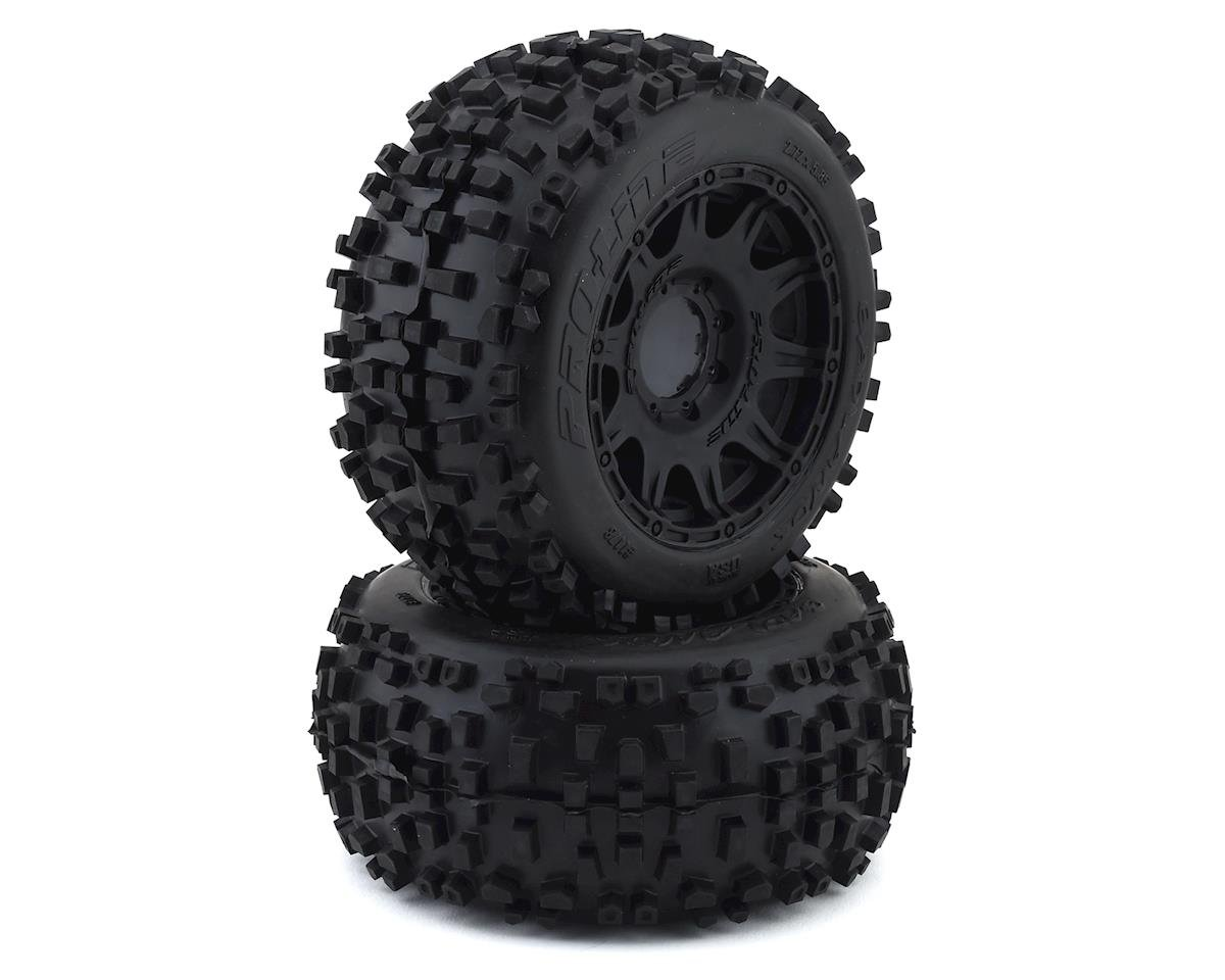 "Pro-Line Badlands 3.8"" Pre-Mounted Truck Tires (2) (Black) w/Raid Wheels (Arrma Kraton 6S BLX)"