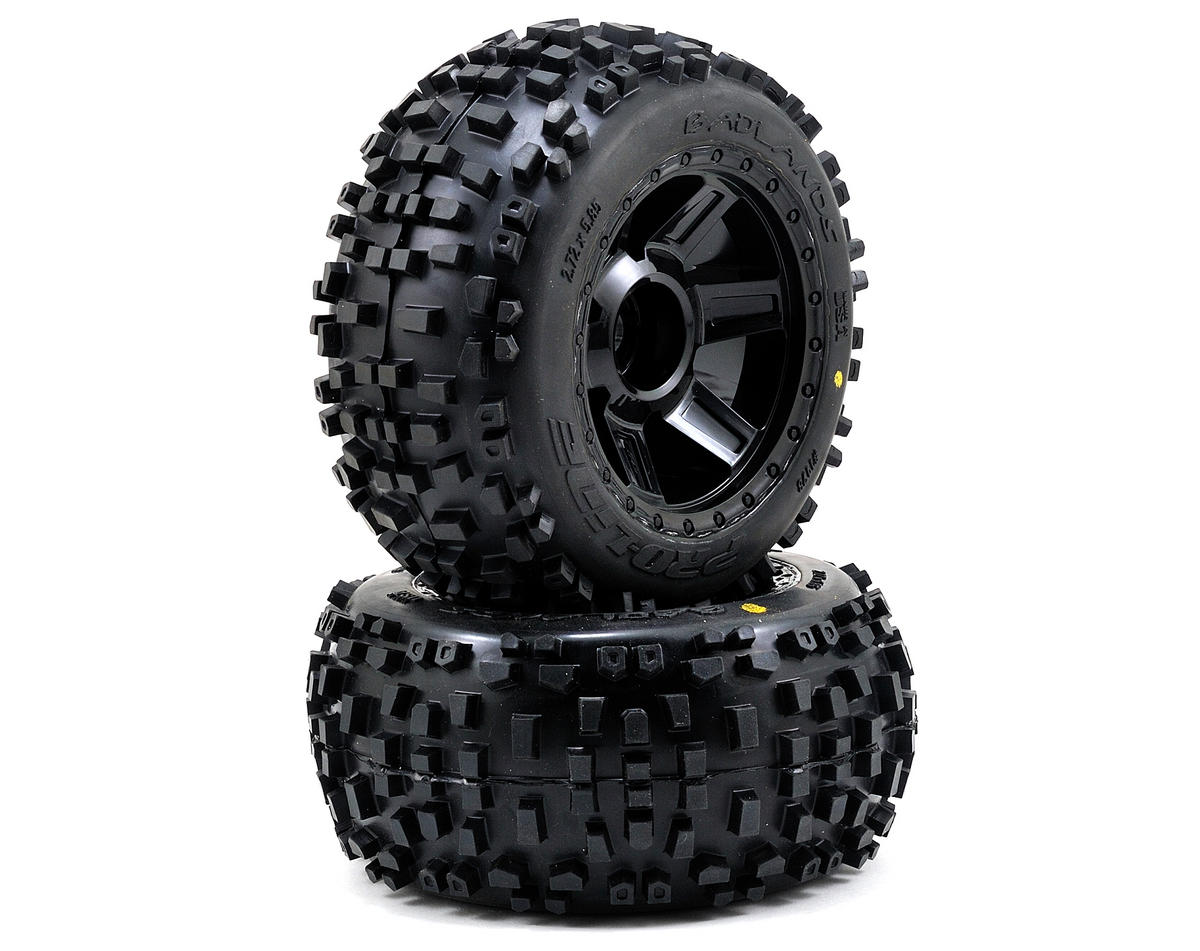 "Pro-Line Badlands 3.8"" Tire 1/2"" Offset Wheel (2) (Black) (Tekno RC MT410)"